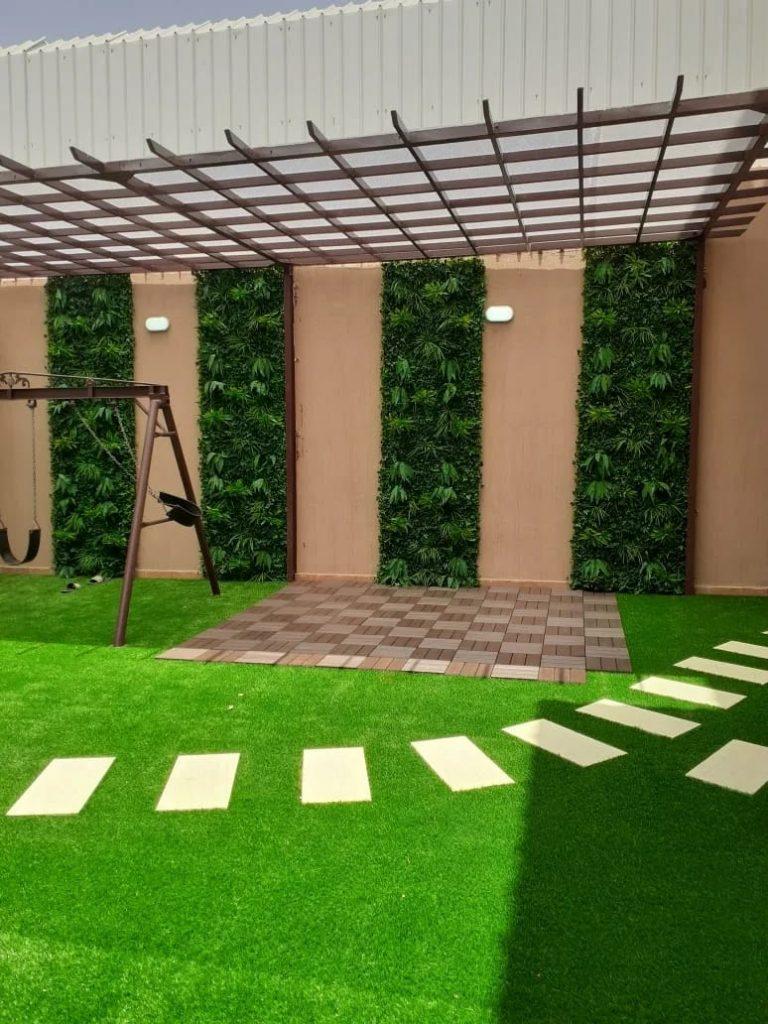 شركة تصميم حدائق عشب صناعي